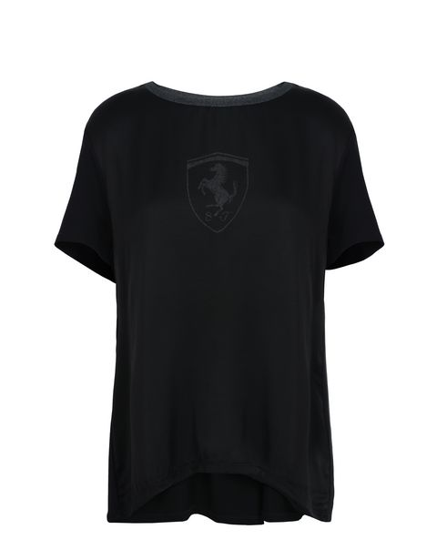 Scuderia Ferrari Online Store - Women's short-sleeved T-shirt with glitter details - Short Sleeve T-Shirts