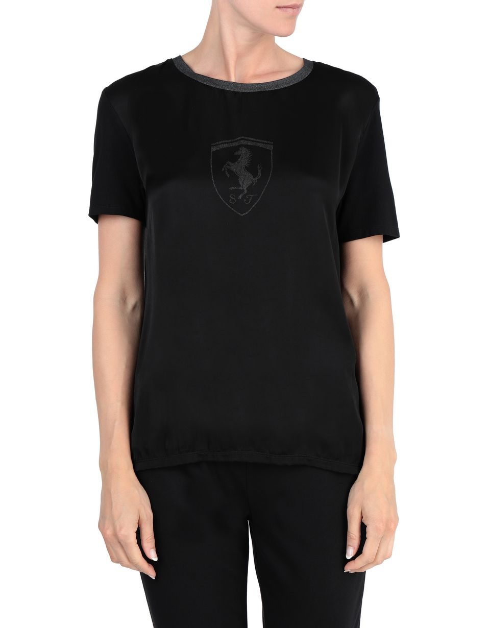 Scuderia Ferrari Online Store - Short-sleeve T-shirt with glitter details - Short Sleeve T-Shirts