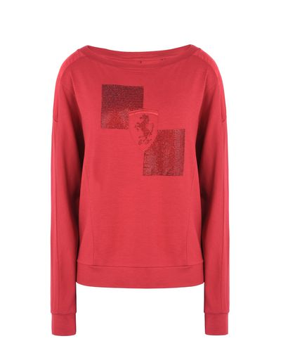 Scuderia Ferrari Online Store - Women's long-sleeve T-shirt with rhinestone Shield - Long Sleeve T-Shirts
