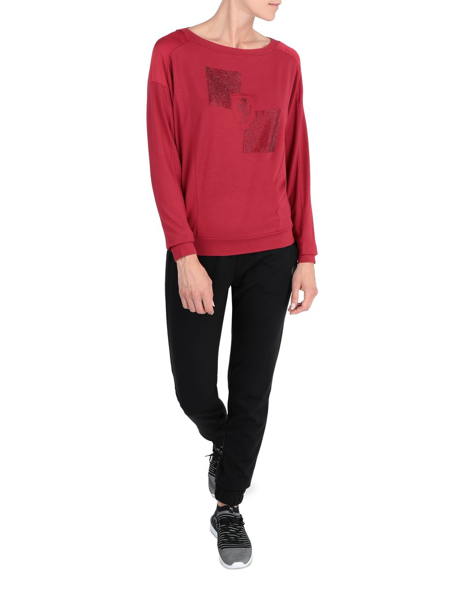 Scuderia Ferrari Online Store - Women's long-sleeved T-shirt with gem Shield - Long Sleeve T-Shirts