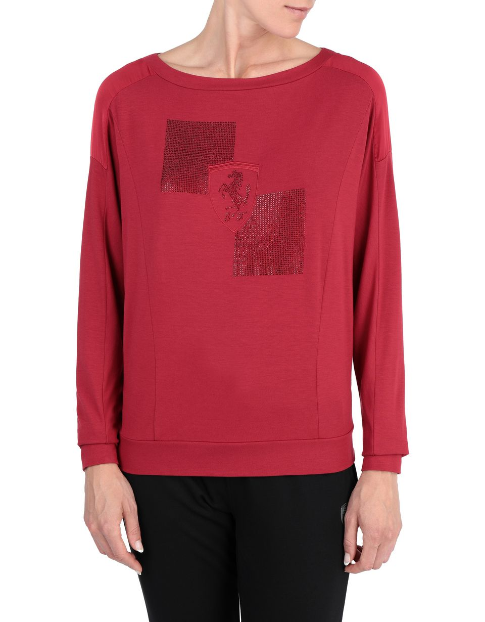 Scuderia Ferrari Online Store - T-shirt donna a maniche lunghe con Scudetto in strass - T-shirt a Maniche Lunghe