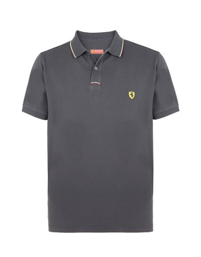 Scuderia Ferrari Online Store - Men's piqué cotton polo shirt - Short Sleeve Polos