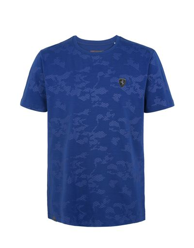 Scuderia Ferrari Online Store - Men's jersey T-shirt with camouflage print - Short Sleeve T-Shirts