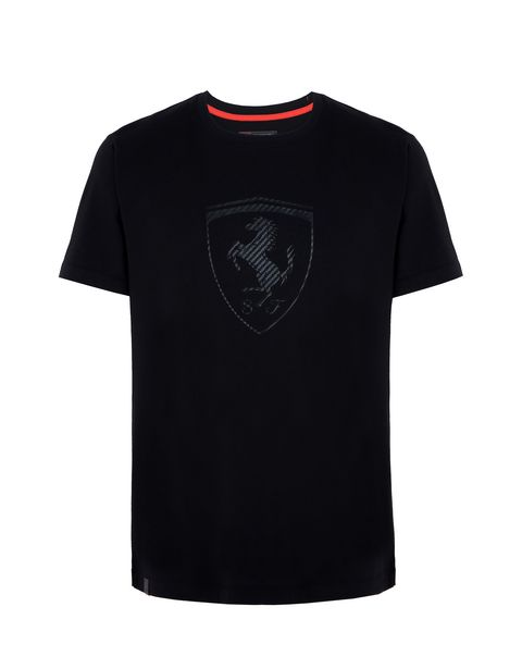 Scuderia Ferrari Online Store - Men's T-shirt with carbon fiber-effect Shield - Short Sleeve T-Shirts