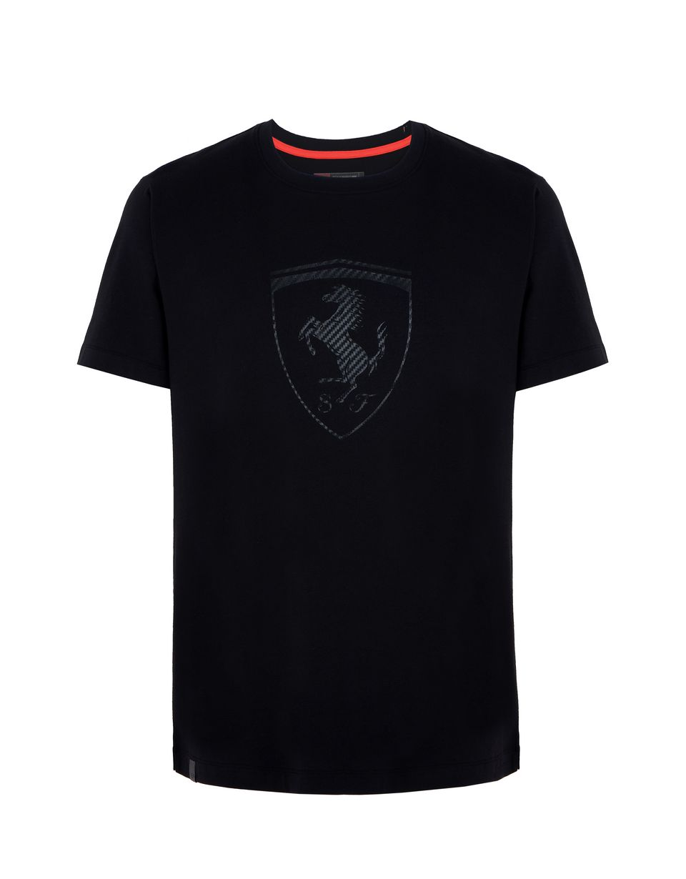 Scuderia Ferrari Online Store - Men's T-shirt with carbon fibre-effect Shield print - Short Sleeve T-Shirts