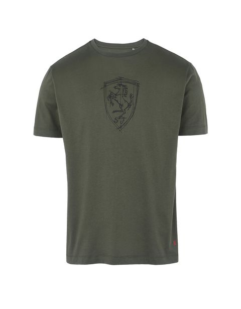 Scuderia Ferrari Online Store - Men's T-shirt with Shield silkscreen print - Short Sleeve T-Shirts