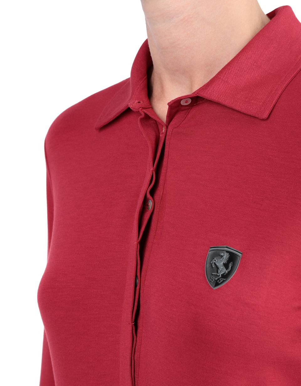 Scuderia Ferrari Online Store - Boys' polo shirt in cotton piquet - Long Sleeve Polos
