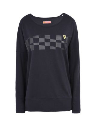 Scuderia Ferrari Online Store - Women's long-sleeved T-shirt with chequered print - Long Sleeve T-Shirts