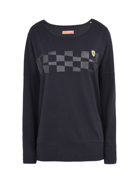 Scuderia Ferrari Online Store - Women's long-sleeved T-shirt with checkered pattern -