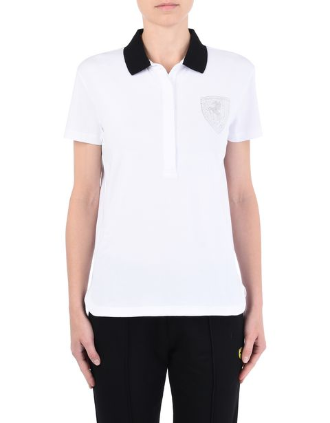 Women's polo shirt in stretch jersey with gems