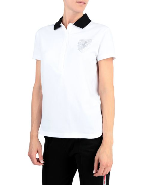 Women's stretch jersey polo shirt with rhinestones