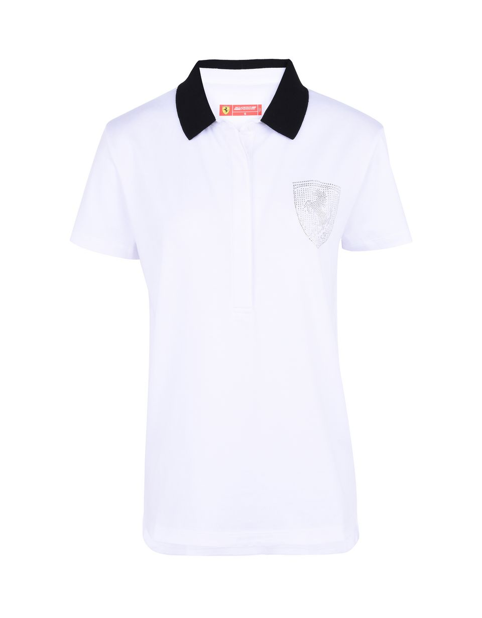 Scuderia Ferrari Online Store - Women's polo shirt in stretch jersey with gems -