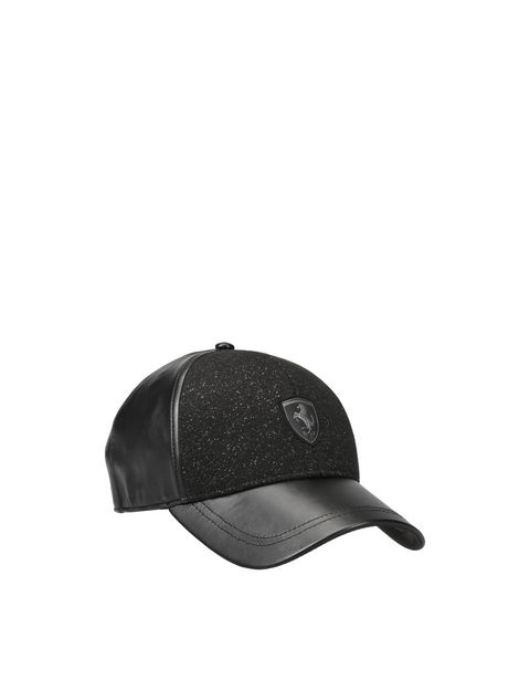 Women's cap in faux leather and shiny-effect fabric