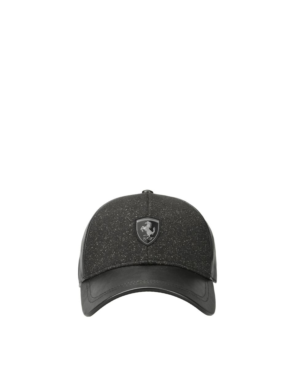 Scuderia Ferrari Online Store - Women s cap in faux leather and glossy  fabric - Baseball ... 7d2dd5a32