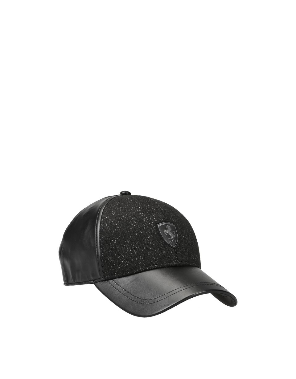 Scuderia Ferrari Online Store - Women's cap in faux leather and shiny-effect fabric - Baseball Caps
