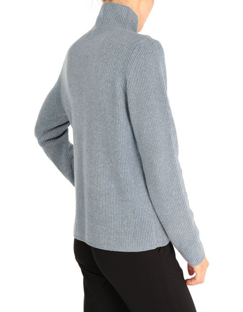 Two-color cardigan with full zipper