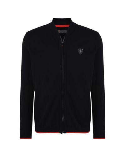 Scuderia Ferrari Online Store - Men's tricot sweater with central zipper - Zip Sweaters