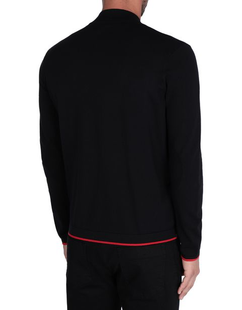 Men's tricot sweater with central zipper