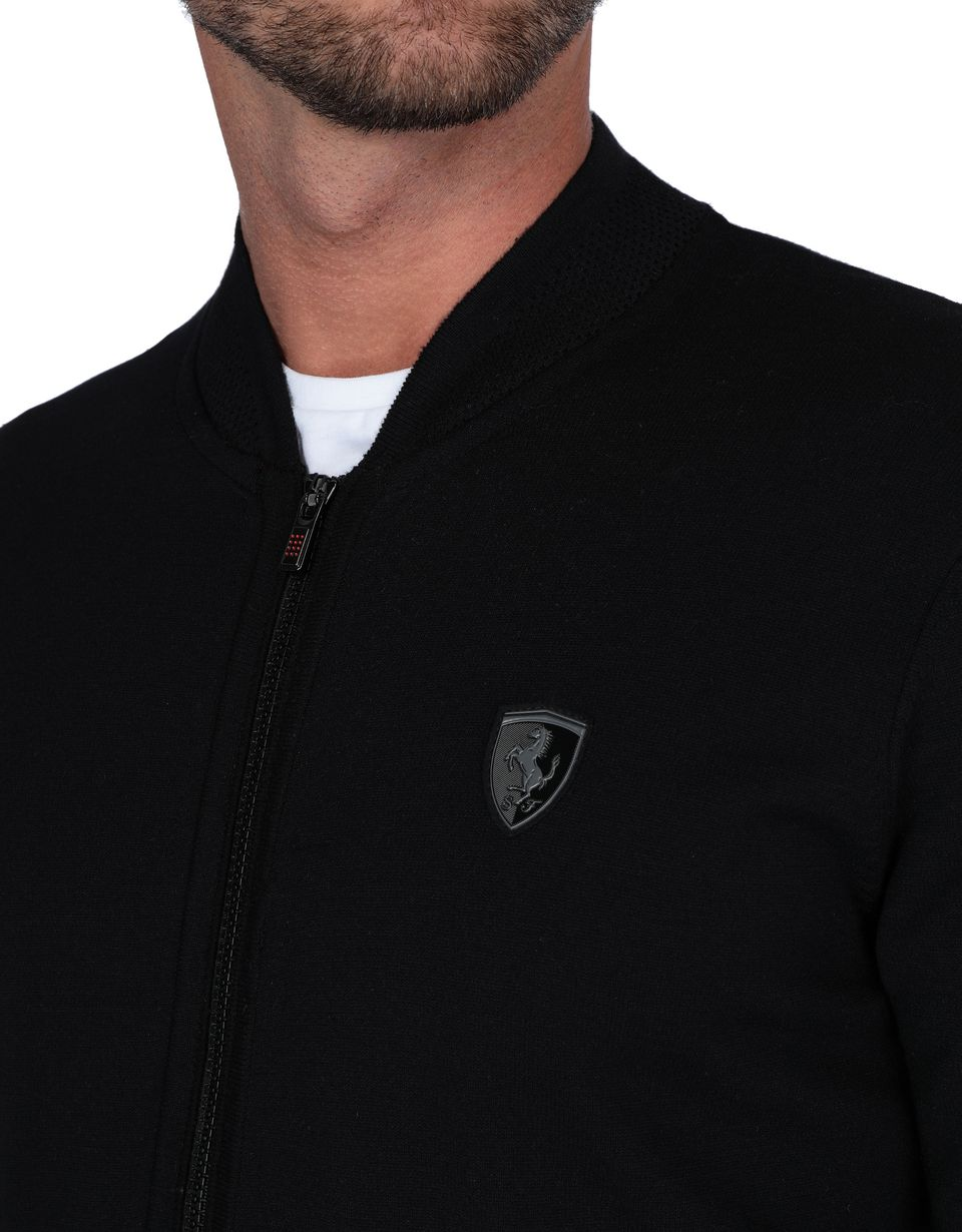 Scuderia Ferrari Online Store - Men's tricot jumper with central zip - Zip Jumpers