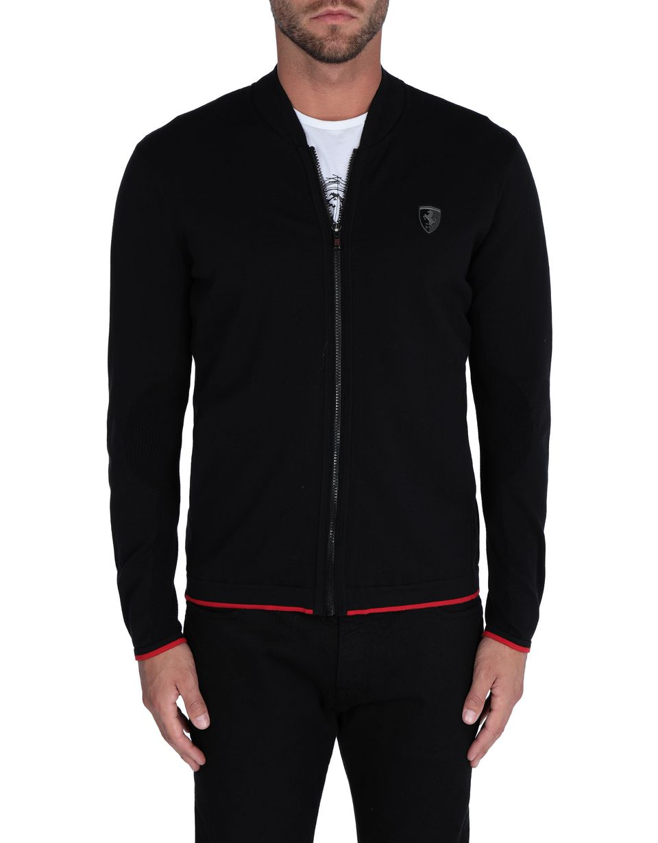 Scuderia Ferrari Online Store - Men's tricot sweater with central zipper - Zip Sweaters