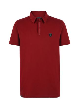 Scuderia Ferrari Online Store - Stretch cotton piquet men's polo shirt -