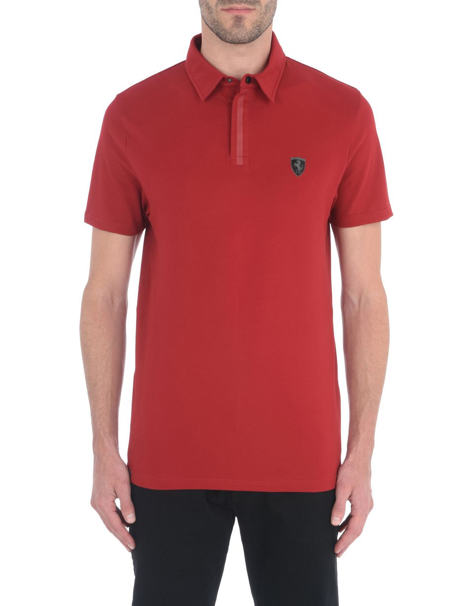 Scuderia Ferrari Online Store - Men's polo shirt in stretch cotton pique - Short Sleeve Polos