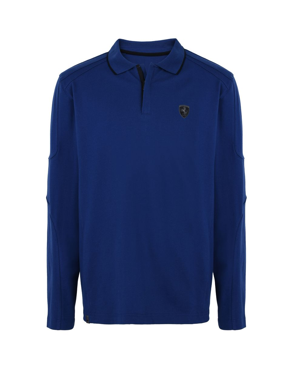 Scuderia Ferrari Online Store - Men's cotton piquet long-sleeved polo shirt - Long Sleeve Polos