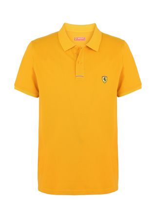 Scuderia Ferrari Online Store - Poloshirt aus Baumwollpikee mit Ferrari-Abzeichen auf der Brust - Kurzärmelige Poloshirts