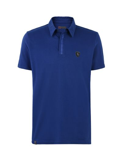Scuderia Ferrari Online Store - Men's polo shirt in stretch cotton pique - Short Sleeve Polos