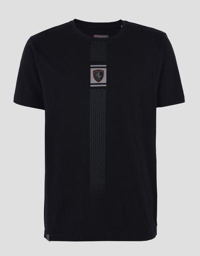 Scuderia Ferrari Online Store - Herren-Jersey-T-Shirt mit reflektierendem Print - Kurzärmelige T-Shirts