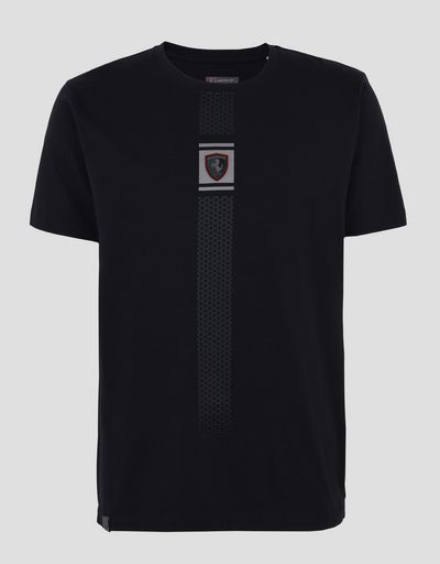 Scuderia Ferrari Online Store - 反射プリント付きジャージー製メンズTシャツ - 半袖Tシャツ