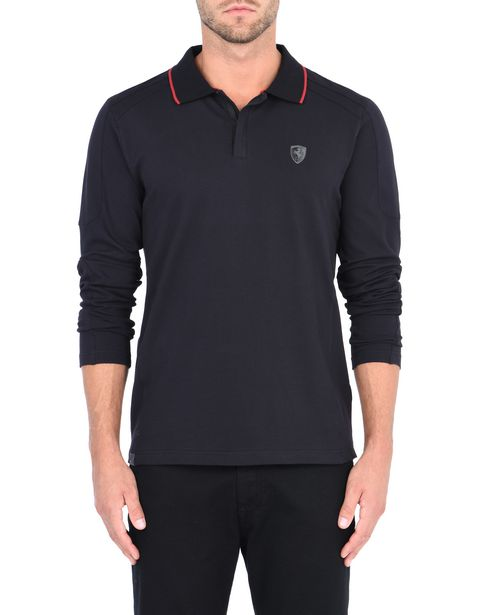 Men's cotton piquet long-sleeved polo shirt