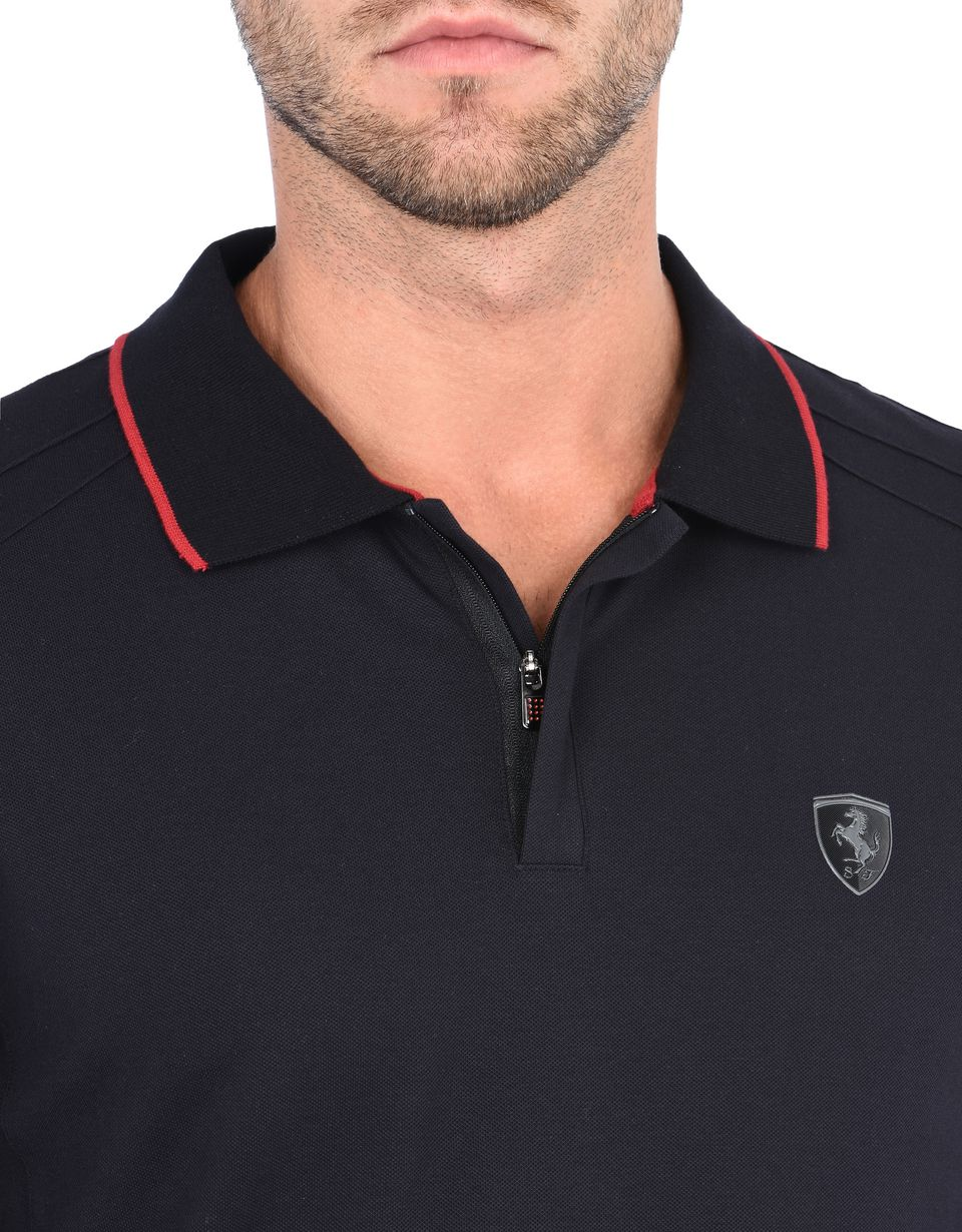 Scuderia Ferrari Online Store - Men's long-sleeved polo shirt in cotton piquet - Long Sleeve Polos