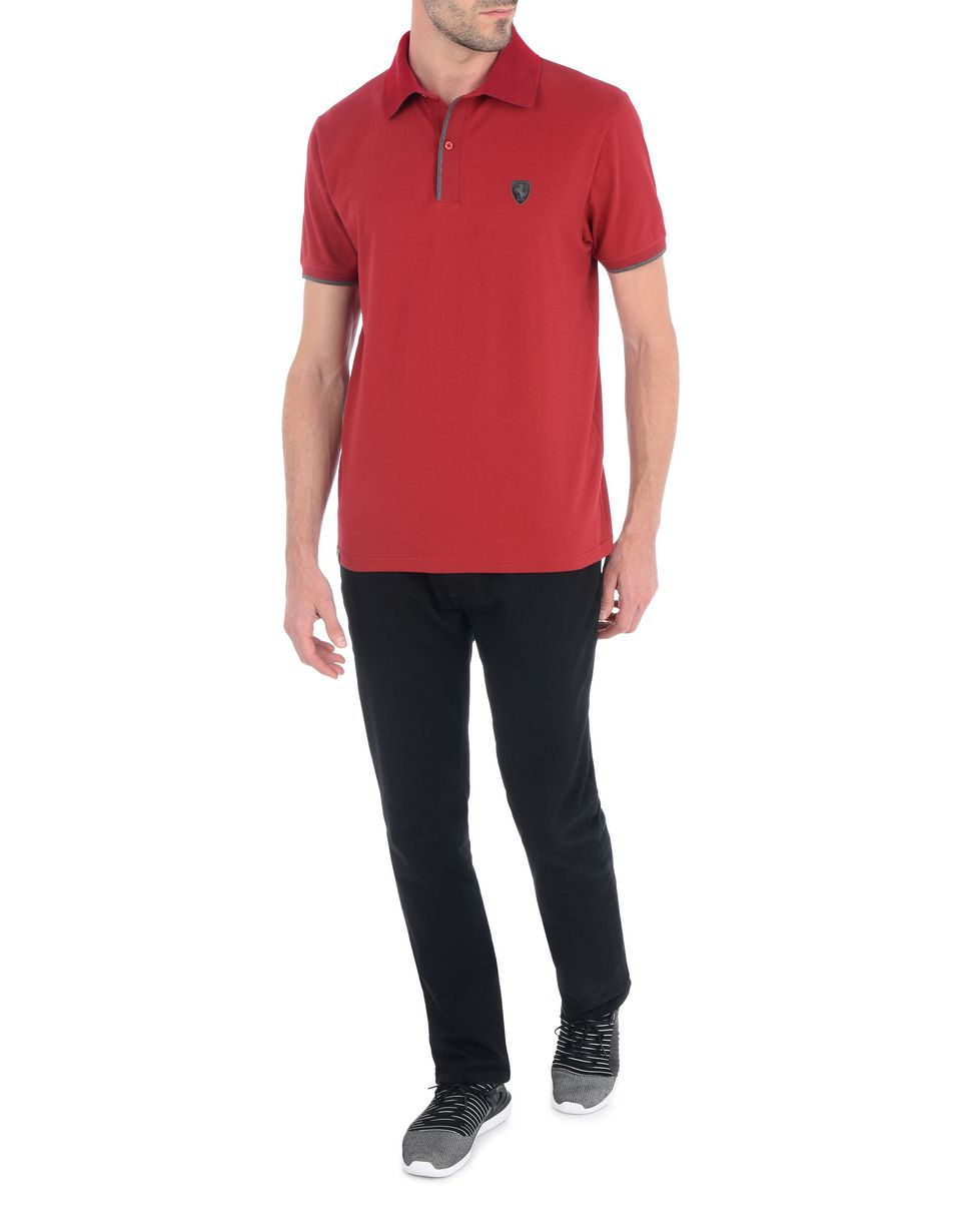 Scuderia Ferrari Online Store - Stretch cotton piquet men's polo shirt - Short Sleeve Polos