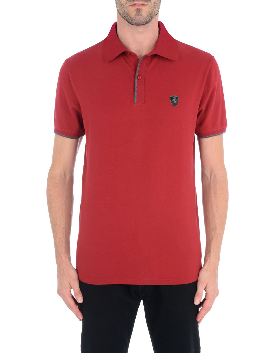 Scuderia Ferrari Online Store - Men's polo shirt in stretch cotton pique -