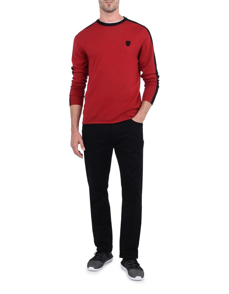 Scuderia Ferrari Online Store - Men's sweater in extrafine wool - Crew Neck Jumpers