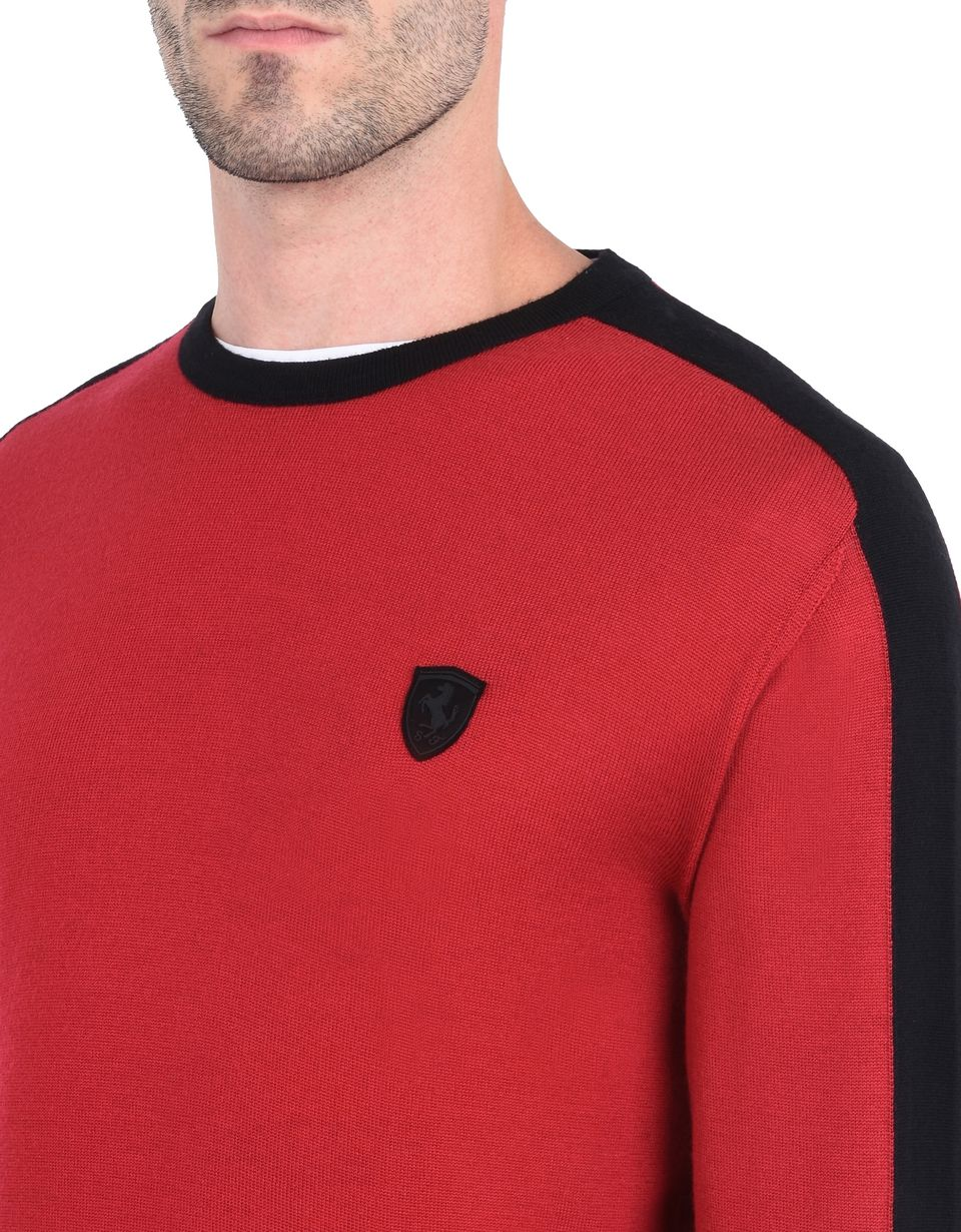 Scuderia Ferrari Online Store - Men's sweater in extra-fine wool - Crew Neck Sweaters