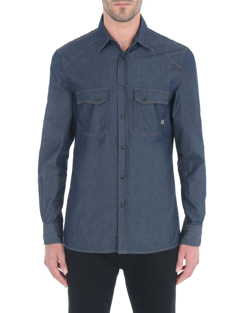 Scuderia Ferrari Online Store - Men's denim shirt - Long Sleeve Shirts