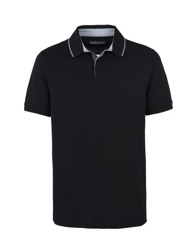 Scuderia Ferrari Online Store - Men's short-sleeve polo shirt in cotton maxi pique - Short Sleeve Polos