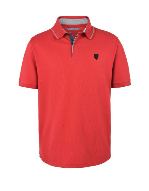 Scuderia Ferrari Online Store - Men's short-sleeved polo shirt in maxi piqué cotton -