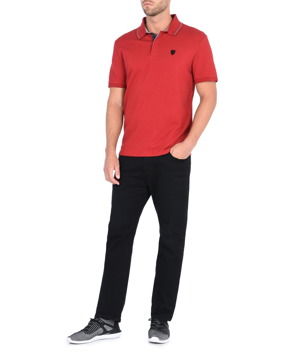 Scuderia Ferrari Online Store - Men's short-sleeve polo shirt in cotton maxi pique -