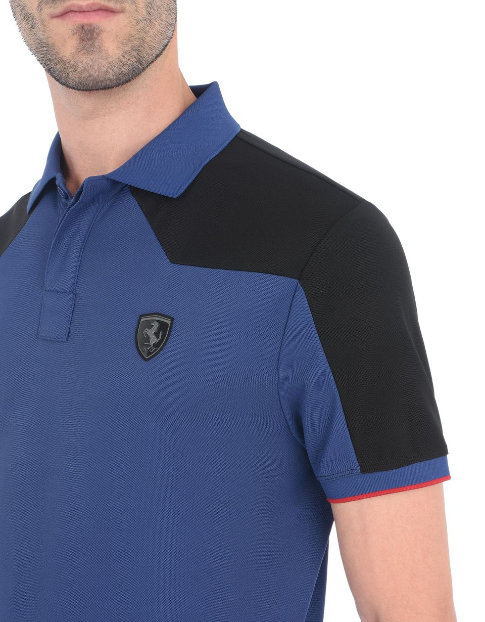 Scuderia Ferrari Online Store - Men's short-sleeved polo shirt in technical cotton piquet - Short Sleeve Polos