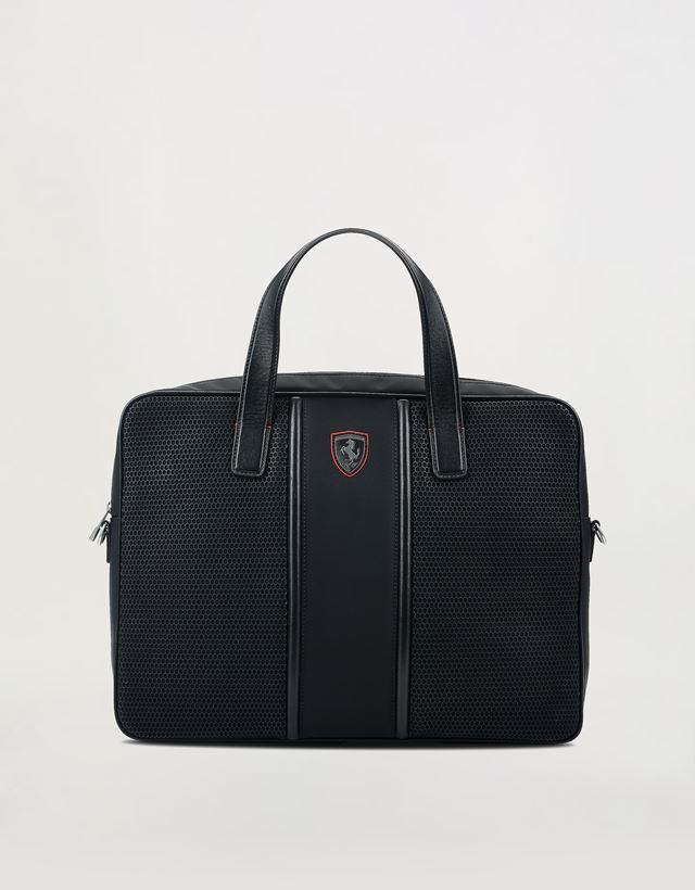 Scuderia Ferrari Online Store - Hypergrid briefcase with shoulder strap and  leather detailing - Briefcase Bags ... 05ed94e17b7e6