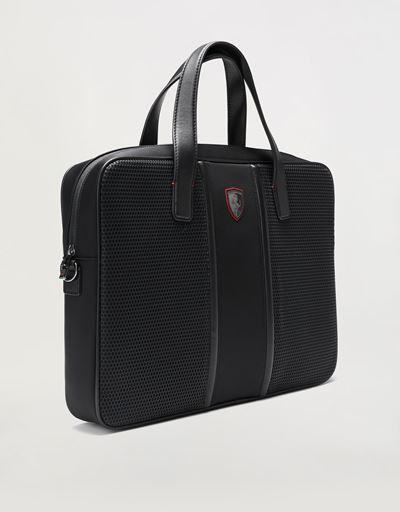 Scuderia Ferrari Online Store - Hypergrid briefcase with shoulder strap and leather detailing -