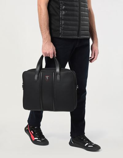 Hypergrid briefcase with shoulder strap and leather detailing