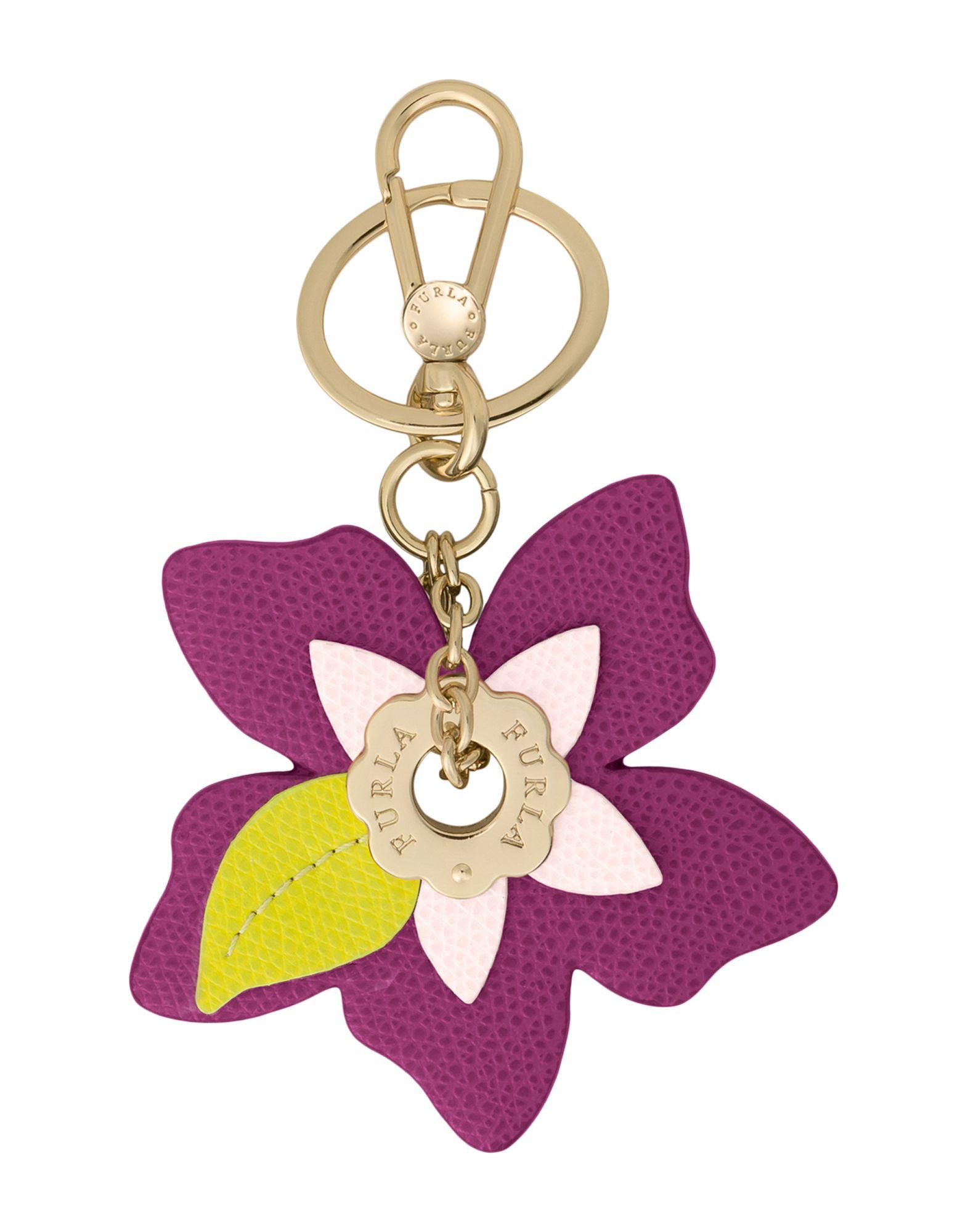 《送料無料》FURLA レディース キーホルダー パープル 革 100% PAPILLON FLOWER EYELET KEYRING