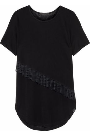 KORAL Threshold ruffled mesh-trimmed Tencel-jersey T-shirt