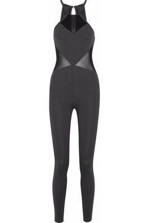 KORAL Mesh-paneled cutout stretch bodysuit