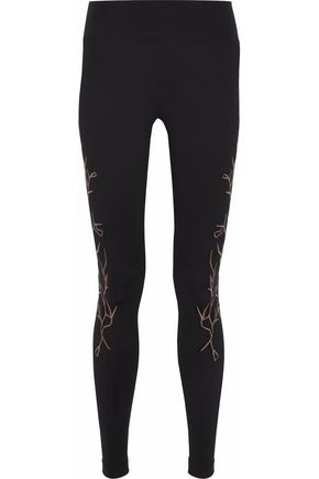 KORAL Distinction embroidered stretch-jersey leggings