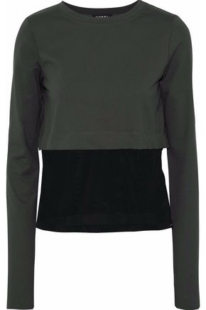 KORAL Mesh-paneled stretch-jersey top